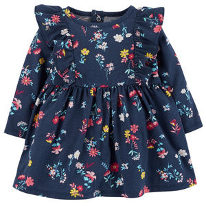 New Carters Baby Girl Floral Print Dress Blue